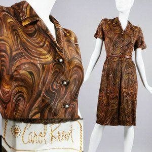 M/L Vintage 60s Psychedelic Copper Midi Dress